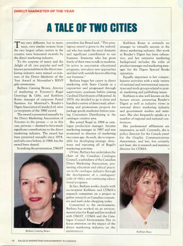 Barbara Canning Brown was made Direct Marketer of the year in 1991