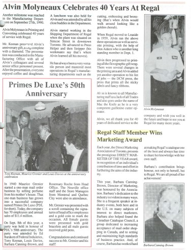 Barbara Canning Brown, with her direct marketer of the year award featured in the Regal newsletter